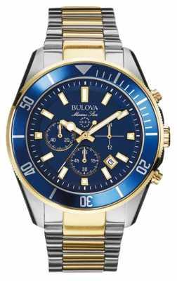 Bulova Mens Marine Star Gold/Silver/Blue Chronograph 98B230