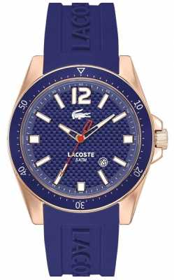 Lacoste Mens Seattle Blue Dial Rose Gold Tone Watch 2010750