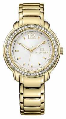 Tommy Hilfiger Ladies Callie, Gold, Crystal Set Watch 1781467