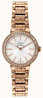 Rotary Womens Les Originales Gold Plate Crystal Set Watch LB90085/02