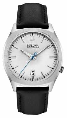 Bulova Mens Accutron II Stainless Steel Black Leather Watch 96B213