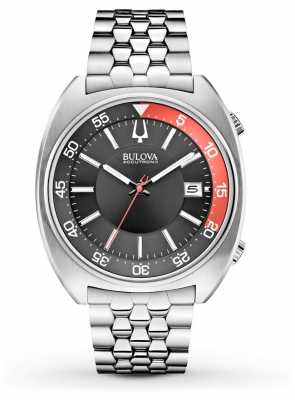 Bulova Mens Accutron II Stainless Steel Black/ Red Dial Watch 96B210