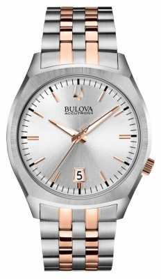 Bulova Mens Accutron II Stainless Steel & Rose Gold Watch 98B220