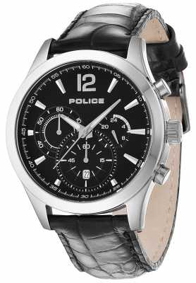Police Mens Ohio Black Leather Strap Watch 12757JS/02