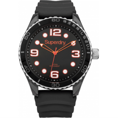 Superdry Mens Tokyo Sport Black Silicone Strap SYG163B