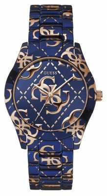 Guess Womens Crazed, Blue, Gold Logo Watch W0472L1