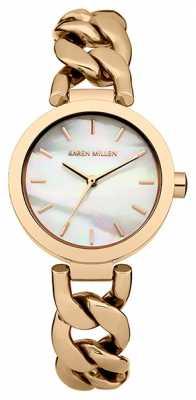 Karen Millen Womens Rose Gold, Pearl Dial Chain Watch KM143RGM