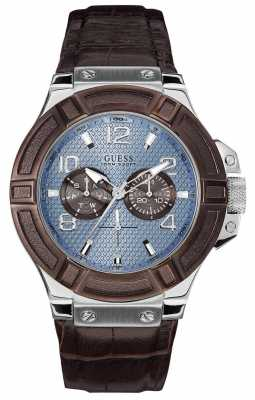 Guess Gent's Rigor Brown Leather Watch W0040G10