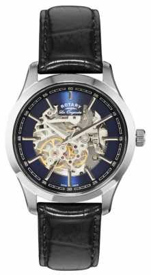 Rotary Mens Jura Automatic Blue Dial Black Leather Watch GS90525/05