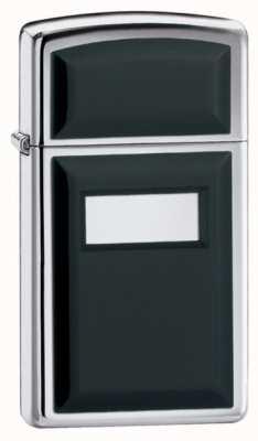 Zippo Slim Ultralite Black Emblem Lighter High Polish Chrome Finish ZIPPO-1655