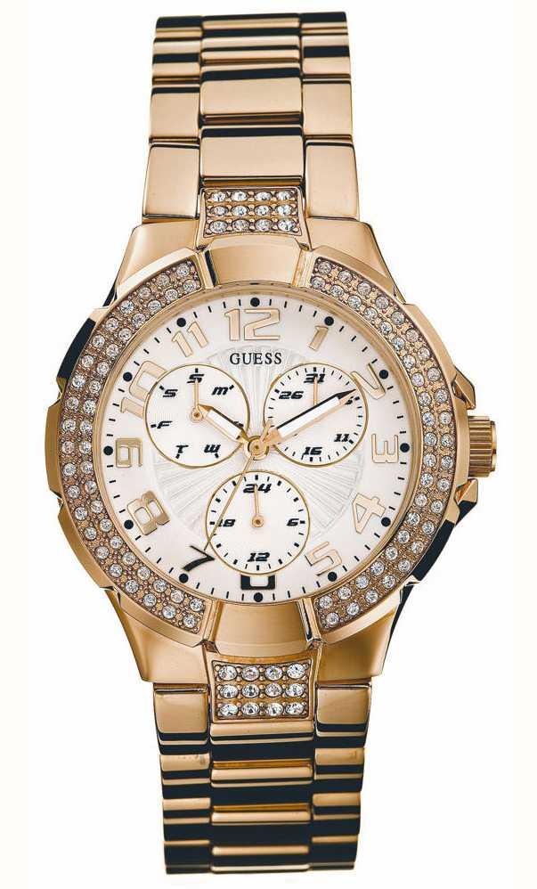 Guess Womens Gold Tone Stone Set Bracelet Watch I16540L1 ... - photo #7