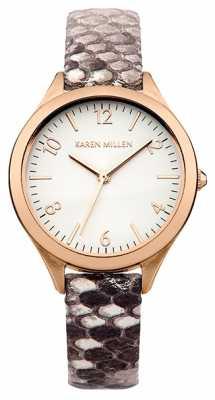 Karen Millen Ladies' Rose Tone Watch With Snake Effect KM150TRG