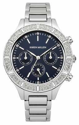 Karen Millen Womens Crystal, Blue Multi Dial Watch KM103SM