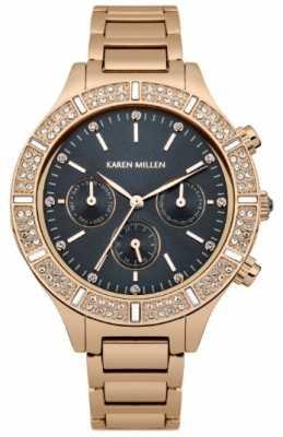 Karen Millen Womens, Rose Gold, Crystal, Black Multi-Dial KM103RGM