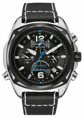Bulova Mens Black Dial Stainless Steel Black Leather Chronograph 98B226