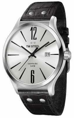 TW Steel Slim Line Silver Black Leather Strap TW1301