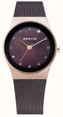 Bering Womens Black IP Steel, Pearl Dial, Crystal 12927-262