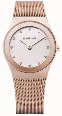 Bering Womens Rose Gold, Mesh Strap, Crystal Watch 12927-366