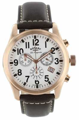 Rotary Mens Les Originales, Gold, White Dial Chrono GS90200/18