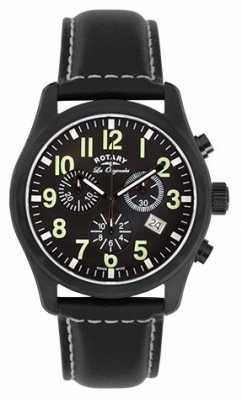Rotary Mens Les Originales Black IP Steel Black Dial Chrono GS90201/19