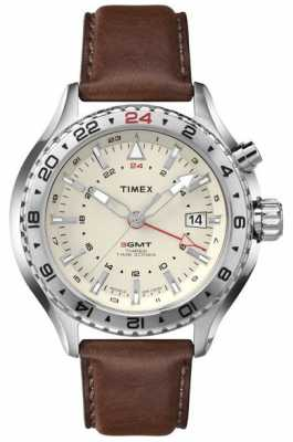Timex Intelligent Quartz Mens 3GMT Brown Leather T2P426
