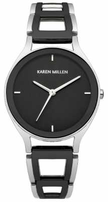 Karen Millen Womens Cut-Away Bracelet, Black & Steel Watch KM148SBM
