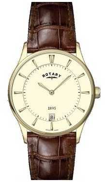 Rotary Mens Slim, Champagne Dial, Brown Leather GS08203/03