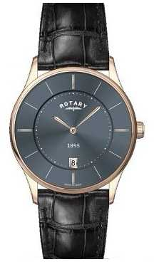 Rotary Mens Slim, Black Dial, Gold Plate Watch GS08204/20