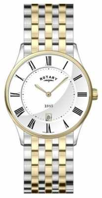 Rotary Mens Ultra Slim Two Tone White Dial Watch GB08201/01