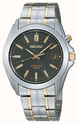 Seiko Mens Two-Tone Black Dial Bracelet Watch SKA271P1