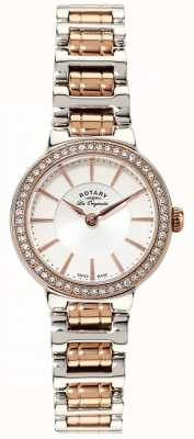 Rotary Womens Les Originales Rose Gold/ Steel Crystal Set Watch LB90083/02