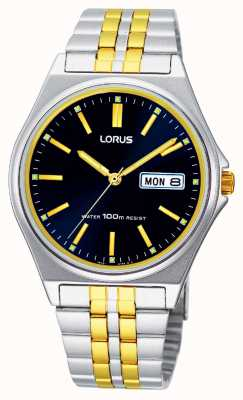 Lorus Mens Two Tone Blue Dial Quartz Watch RXN27BX9