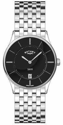 Rotary Mens Ultra Slim, Steel, Black Dial Watch GB08200/04