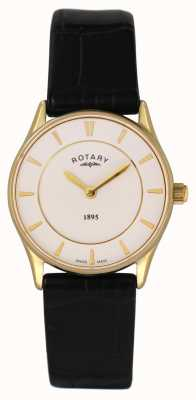 Rotary Womens, Slim, Gold Plate, Black Leather Watch LS08203/02
