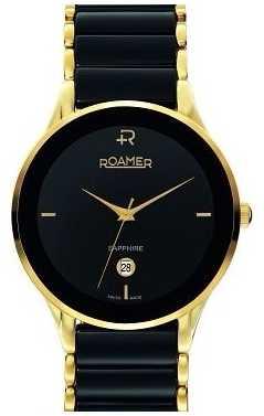 Roamer Mens Sapphire Black Ceramic and Gold Watch 677972485560
