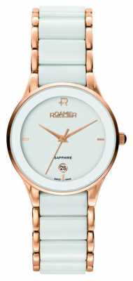 Roamer Mens Sapphire White Ceramic Rose-Gold Watch 677981492560