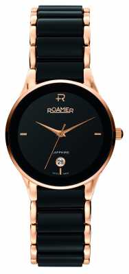 Roamer Womens Sapphire Black Ceramic and Rose Gold Watch 677981495560