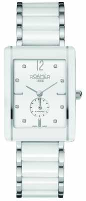 Roamer Ceraline Saphira White Ceramic Crystal Set Watch 690855412960