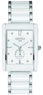 Roamer Mens Ceraline Saphira White Ceramic Crystal Set Watch 690855412960