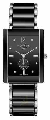 Roamer Womens Ceraline Saphira Black Ceramic stainlesl Crystal Watch 690855415960