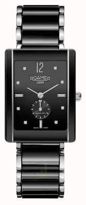 Roamer Womens Ceraline Saphira Black Ceramic stainles Crystal Watch 690855415960
