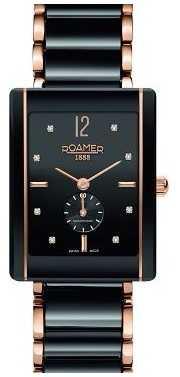 Roamer Womens Ceraline Saphira Black Ceramic Rose Gold Crystal Set 690855495960