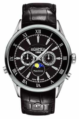 Roamer Mens Superior Moonphase Black Dial Leather 508821415305