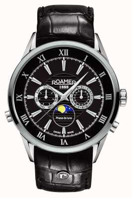 Roamer Mens Superior Moonphase Black Dial Leather 508821415305