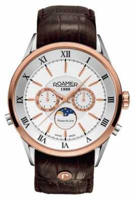 Roamer Mens Moonphase Rose Gold/ Steel Brown Leather Watch 508821491305