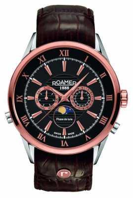 Roamer Mens Moonphase Rose Gold Black Dial Watch 508821495305