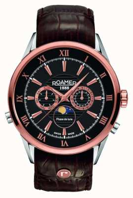 Roamer Mens Moonphase Rose Gold Black Dial Watch 508821495305