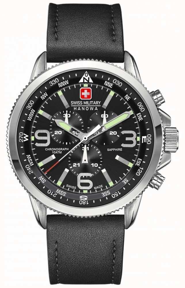 Swiss Military Hanowa Mens Stainless Steel Black Dial Black Leather ... 8b44c7e40d