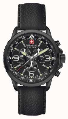 Swiss Military Hanowa Mens Arrow Black IP Steel Black Leather Chrono 6-4224.13.007