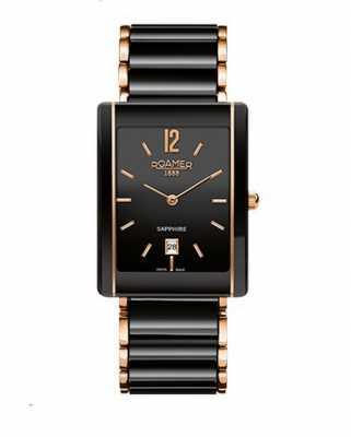 Roamer Womens Ceraline Saphira Black Ceramic Rose Gold Watch 690856495460